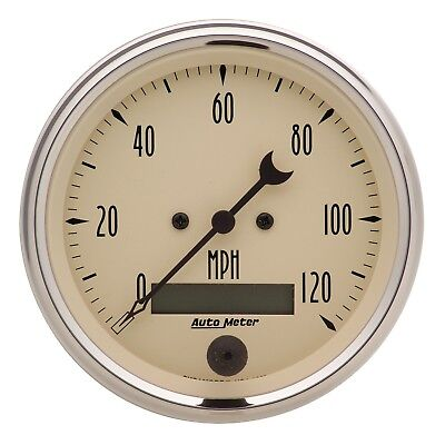 "AutoMeter 1880 Antique Beige Electric Programmable Speedometer 3 3/8"" 120 MPH"
