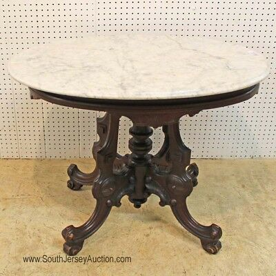 Antique Oval Carved Walnut Victorian Marble Top Parlor Table Lot 152