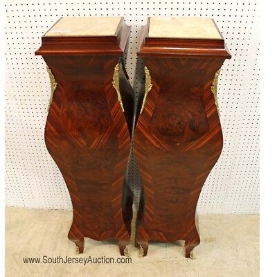 Pair of French Style Burl Walnut and Mahogany Marble Top Pedestals wi... Lot 136
