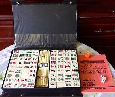Portable Vintage Collection Chinese Mahjong Rare Game  Mah-Jong Set 1970s