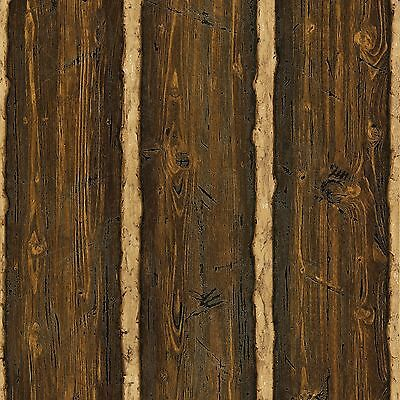 DOUBLE ROLL Log Brown Wood Paneling Wallpaper