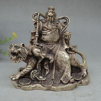 Collectible Decor Old Handwork Miao Silver Carved Gong Ming Riding Tiger Statue