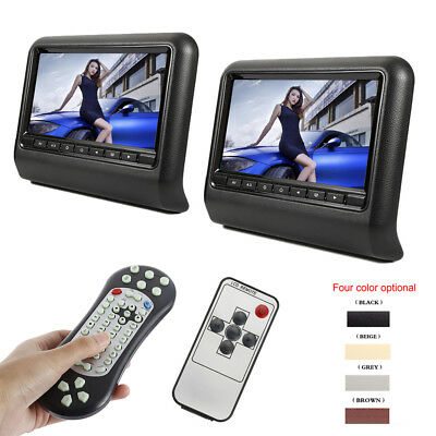 "New 9"" HD Car Headrest Digital FM DVD SD Player Pillow Monitor USB IR Resolution"