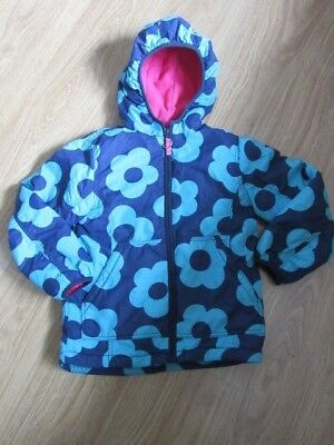 Girls Mini Boden Blue With Teal Flowers Winter Coat Pink Fleece Lined Age 11-12
