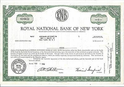 Royal National Bank Of New York.....1966 Common Stock Certificate