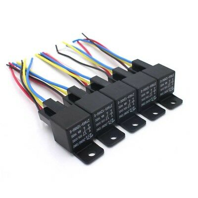 5Pcs 5 Pin 5 Wires w/Harness Socket 30/40 Amp  DC 12V Car SPDT Automotive Relay
