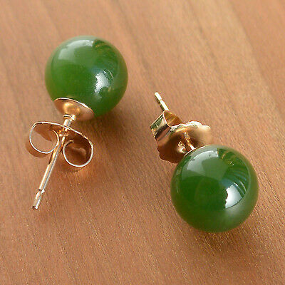 Natural Nephrite Jade Earrings Green Studs 8 Mm Size Gold Filled