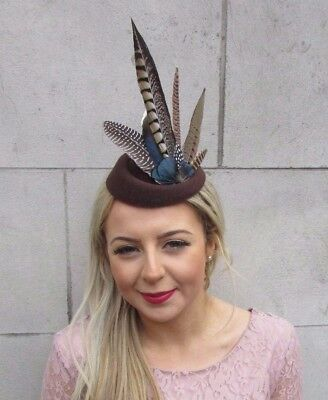 Brown Blue Pheasant Feather Pillbox Hat Hair Fascinator Races Clip Vintage 4524