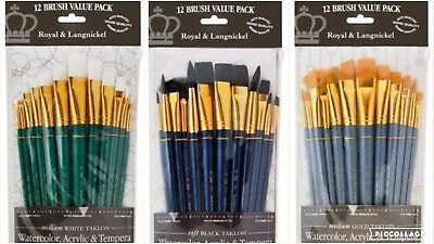 royal and langnickel 12 pc taklon paint brush set acrylic watercolor