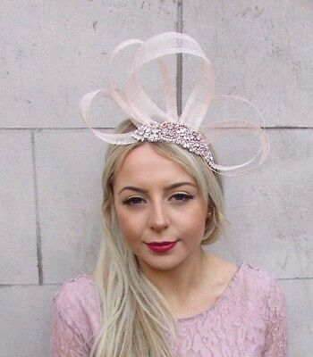 Nude Champagne Rose Gold Silver Sinamay Fascinator Headband Races Hair Band 4526