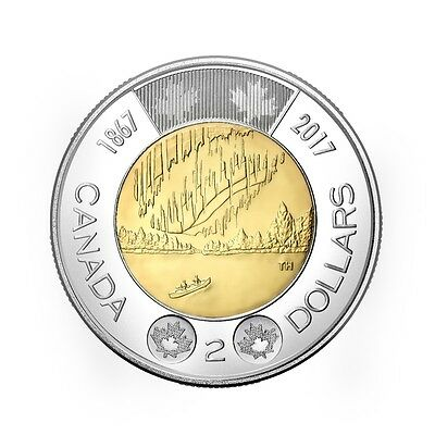 """2017 """"1867-2017 150th ANNIVERSARY OF CANADA"""" $2 Dollars Toonie UNC From Roll"""