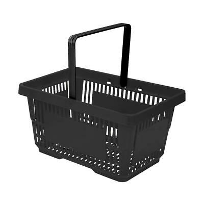 Black Plastic Shopping Baskets Pack of 10 with Single Black Handle