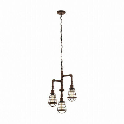 Vintage Hanging Light Antique Brown Lamp Rahmenleuchte Pendant