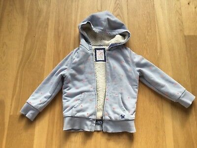 Girls Mini Boden shaggy lined zip up hoodie age 5-6