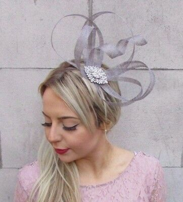 Grey Silver Sinamay Feather Fascinator Races Cocktail Alice Band Headband 4530
