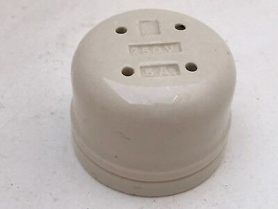 Vintage White Ceramic Vitreous 250V 5A Fuse Box Threaded