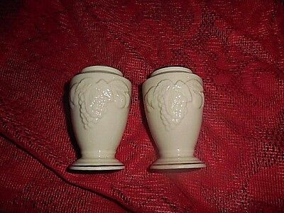 Lenox Porcelain Salt & Pepper Shakers Grapes & Leafs Gold Trim