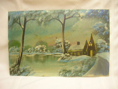 """Vintage Oil Painting of a Church on a Lake on Paper Board 14"""" X 9"""" Winter Scene"""