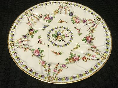 Beautiful 18th  SEVRES GORGEOUS CABINET PLATE Hand Painted  with flowers