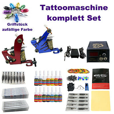 2 Tattoomaschinen Tattoo Maschine komplett Set Tattoofarbe Ink Tattoonadeln