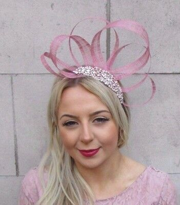 Rose Gold Dusky Pink Silver Sinamay Fascinator Headband Races Hair Band Vtg 4536