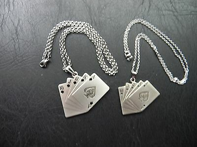 His And Hers Royal Flush Casino Cards Poker Stainless Steel Chain Necklace Set