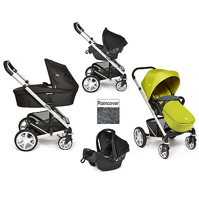 New Joie Green Chrome Plus Travel System & Carrycot Silver Frame From Birth