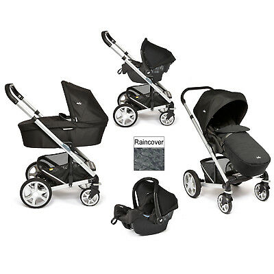 New Joie Black Carbon Chrome Plus Travel System & Carrycot Silver Frame
