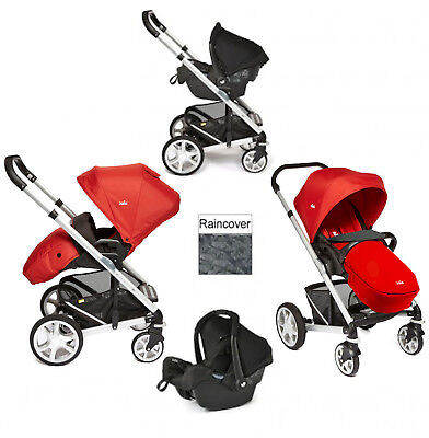 New Joie Tomato Red Chrome Plus Travel System Silver Frame From Birth