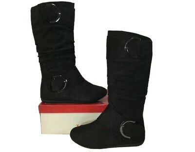 1749a24ac52 TOP MODA BANK 81 Black Round Toe Mid Calf Slouch Boot Women s Sz 10 ...