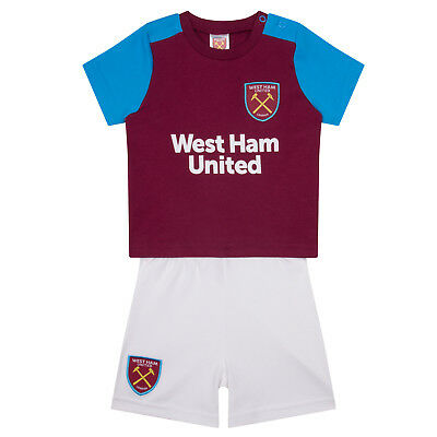 West Ham United FC Official Soccer Gift Home Kit Baby T-Shirt & Shorts