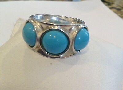 Vintage Sterling Silver Turquoise Ring Made In Italy