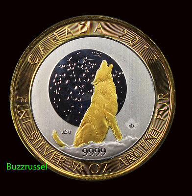 2017 3/4 oz Ounce Canadian Silver Wolf Moon Coin 24K Gold Gilded Free Shipping