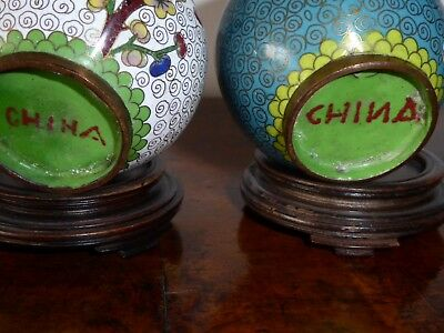 Small cloisonne bowls on hardwood stands