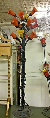 "Italian Murano Glass Tulip Floor Lamp Bronze Base  70"" Tall"