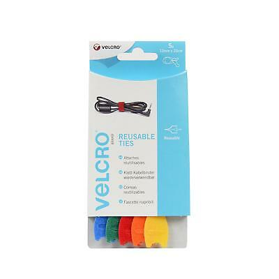 VELCRO® 12mm x 20cm Coloured Reusable Cable Ties / Straps x5 Pack