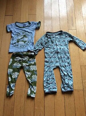 Lot Of Two Kickee Pants Coverall Old Style Two Piece Planes Pajamas Pandas 12-18