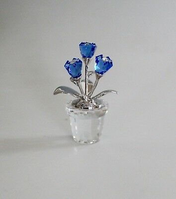 Swarovsky Crystal Blue Forget Me Not Flowers in Pot 626873