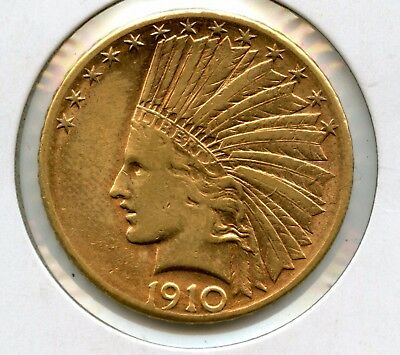 1910-D Indian Head $10 90% Gold Eagle Coin Raw Uncertified RR882