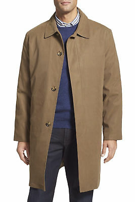 London Fog Mens Solid Brown Raincoat Trench Coat With Removable Liner