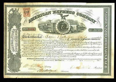 Henry Wells & William Fargo Signed American Express Stock Certificate BAS