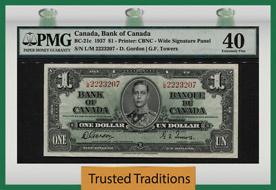 "TT PK BC-21c 1937 CANADA $1 ""PORTRAIT OF KING GEORGE VI"" PMG 40 EXTREMELY FINE!"