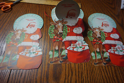 3 ORIGINAL VINTAGE Christmas Card Sweet Hollow Creamery, Farmindale, LI NY