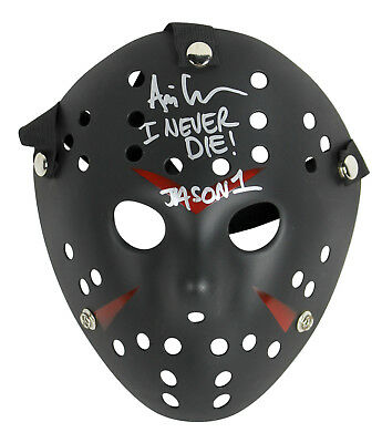 """Ari Lehman Friday The 13th """"I Never Die Jason 1"""" Authentic Signed Black Mask BAS"""
