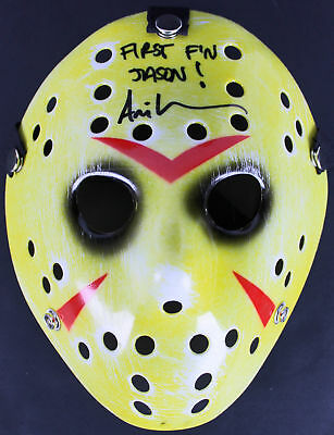 """Ari Lehman Friday The 13th """"First F'n Jason"""" Authentic Signed Yellow Mask BAS"""