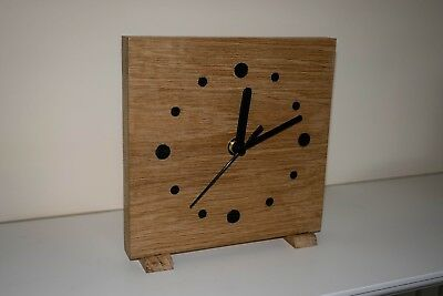 Art Nouveau, handmade, oak, battery powered clock, 16x16 cms. square