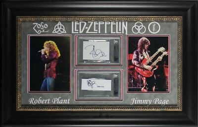 Led Zeppelin Jimmy Page & Robert Plant Signed & Framed Cut Signature Display BAS
