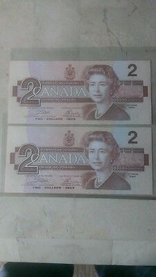 1986 Canadian Two Dollar Bills Consecutively Numbered BC-55b Crisp UNC