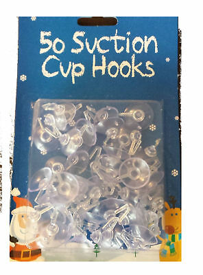 50 Mini Suction Cups Hooks Ideal For Christmas Decoration(54660)