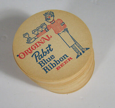 Lot of 50 Pabst Blue Ribbon Beer Cardboard Coasters 1950s